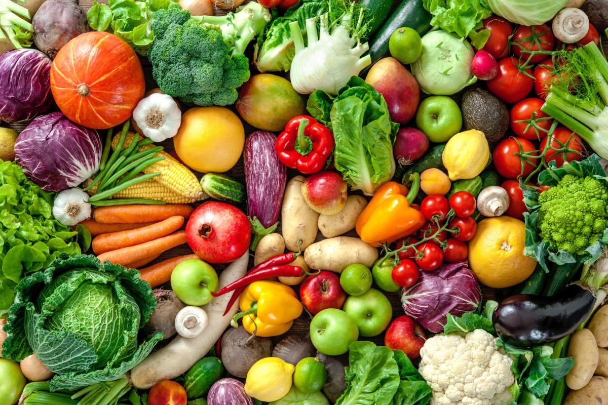 Masse frukt og grønnsaker