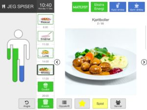 Bilde viser et skjermutsnitt fra APPetitus app med visulaisering av næringsinntak og en middagsrett.